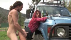Naughty redhead Australian babe getting her snatch plowed outdoors
