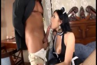 Sweet maid in fishnet screwed and jizzed while cleaning