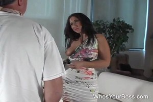 Chubby babe payed her husband back for interrupting her masturbation.