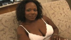 Young ebony treats her cock like a sweet lollypop.