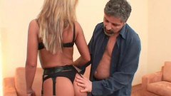 Mature guy drilling young babe's tight ass.