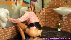 A glam blonde riding and getting slime!