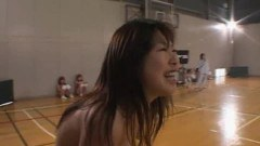 Horny amateur asian babes playing basketball all naked