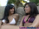 Hot lesbian babes fucking outdoors in a threesome