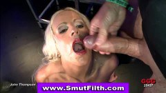 Kinky  bukkake fetish blonde slut sucking fucking and getting jizzed
