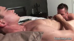 Young dude pumped by an older dude