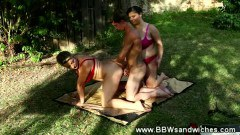 Two BBW femdoms in a hardcore outdoor threesome