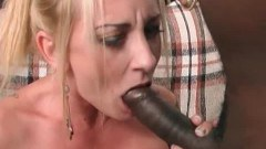 Hot blonde slut getting pumped and facial from a big black cock