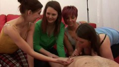 Four young babes sucking on a tool!