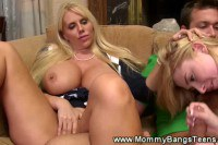 Busty MILF and blonde teen having some fun and sharing a hard cock