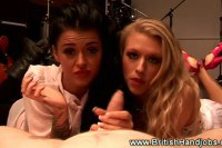 Naughy british sluts giving an awesome handjob