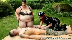 Tied up dude sucked by BBW