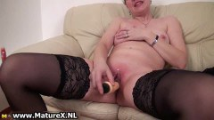 A mature blonde toying in here