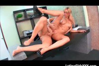 Horny blonde secretary gets pumped on her desk