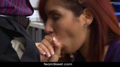 Gorgeous redheaded schoolgirl getting nailed by her teacher