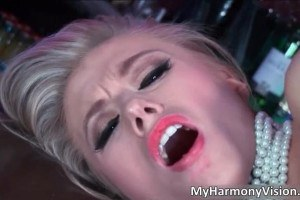 Sexy babes getting licked and sucking in a bar