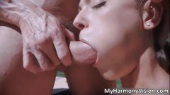 Hot temptress Olivia Wilder blowing tube and getting fucked outdoors