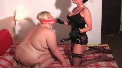 A sexy mistress and her chubby blonde slave!