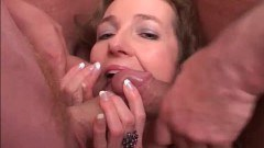 Sexy blue eyed german MILF sucking cocks and getting her ass nailed in this final gangbang