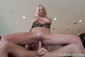 Juicy blonde MILF Emma Starr riding on a really big cock