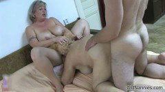 Two dirty old nannies fucked in a threesome