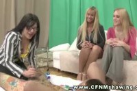 Sexy CFNM babe with glasses sucking dick in front of her friends