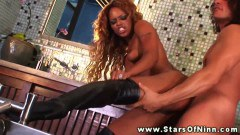 Hot ebony chick Marie Luv fucked in the bathroom