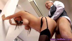 Old timer fucking on a sexy big breasted blonde!