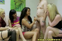 One sexy brunette gives head in front of her girls