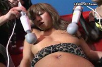 Horny Japanese toyed by three friends