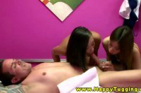 Two oriental masseuses sharing dick with their hands and lips