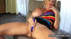 Busty blonde babe toys deep