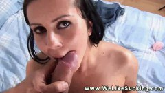 This sexy brunette loves sucking