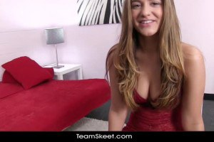 Sexy teen in red lingerie in POV action