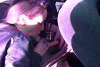 Horny brunette teen gives head in the car and gets fucked from behind