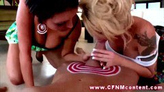 Horny CFNM housewives sharing a hard dick