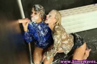 Two orgasmic lesbians getting wet and messy