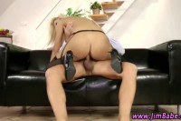 Lusty blonde doll sucking and riding an old dick