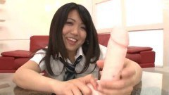 Horny asian teen sucking on a dildo with so much skill