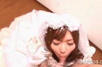 Lovely asian bride sucking a meat pole POV style
