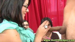 Sexy brunette with glasses gives handjob