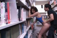 Horny japanese teen fucked in the library
