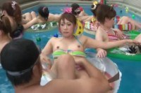 Kinky Asian teens fingered in the pool