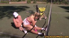 Lovely blonde girlfriend sucks and rides dick outdoors