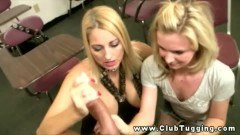 Hot teen and cougar mom giving a tugjob