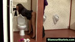 Glam clothed babe fucked though a gloryhole