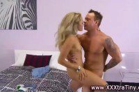 Petite blonde pumped by a jock