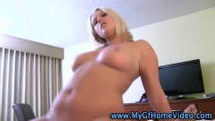 Real blonde POV amateur bouncing on dick