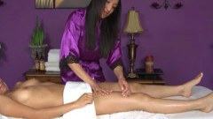 Sensual brunette masseuse licking on her client's twat