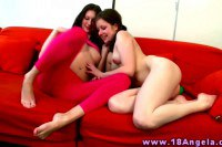 Tiny young lesbians making love